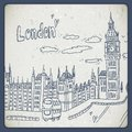 London doodles drawing landscape in vintage style this is file of eps format Stock Image