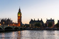 London at dusk big ben and westminster bridge in great britain Stock Image