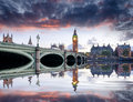 London at dusk westminster bridge and big ben in Stock Images
