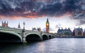 London at dusk westminster bridge and big ben in Royalty Free Stock Photography
