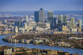 London, England - Aerial view of River Thames and the skyscrapers of Canary Wharf Royalty Free Stock Photo