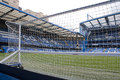 London england april view of stamford bridge chelsea fc football stadium from behind one the goals on Royalty Free Stock Images