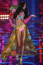 London england december victoria s secret model kelly gale walks the runway during fashion show on Stock Images