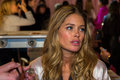 London england december victoria secret s model doutzen kroes is seen backstage prior the fashion show on Stock Photography