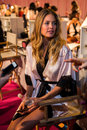 London england december victoria secret s model doutzen kroes is seen backstage prior the fashion show on Stock Images