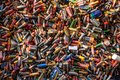 Large pile of old, used, corroded batteries at a recycling centre Royalty Free Stock Photo