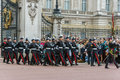 LONDON, ENGLAND - JUNE 17 2016: British Royal guards perform the Changing of the Guard in Buckingham Palace, London, Grea