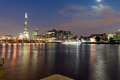 LONDON, ENGLAND - JUNE 17 2016: Night Panorama of Southwark Bridge, The Shard  skyscraper and Thames River, London Royalty Free Stock Photo