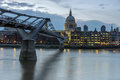 LONDON, ENGLAND - JUNE 17 2016: Night photo of Thames River, Millennium Bridge and St. Paul Cathedral, London Royalty Free Stock Photo