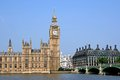 London england parliament building and big ben from across the thames Royalty Free Stock Photography