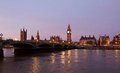 London evening thames with big ben and westminster palace with bridge in front during in uk Stock Image