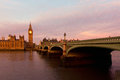 London evening thames with big ben and westminster palace during in uk Stock Image