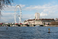 London eye from across the river and buildings on south bank of thames in Stock Photos