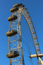 London eye ferris wheel by river thames london looking up at part of the the on the south bank of the in england united kingdom Royalty Free Stock Photography