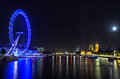 London Eye on a full moon night Stock Image