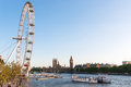 London eye and houses of parliament united kingdom may on may in Royalty Free Stock Photos