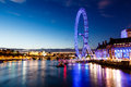 London Eye and London Cityscape in the Night Royalty Free Stock Image