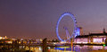 London eye panoramic night view in uk Stock Photos