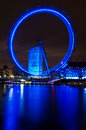 The london eye and river thames january by night in england on january it is tallest ferris wheel in europe Stock Images