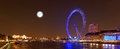 The london eye and the river thames by night london uk Royalty Free Stock Photography
