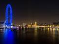 London Eye And Skyline At Night Stock Image