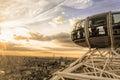 London eye sunset and skyline Royalty Free Stock Photo