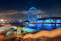 London eye uk sep over thames river at night on september in uk it is europe s tallest ferris wheel and the most Stock Image