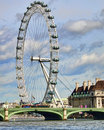 London eye and Westminster bridge Royalty Free Stock Image