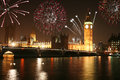 London fireworks night view of house of parliament and big ben in with on new years eve Stock Images