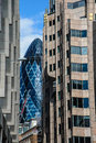 London the gherkin city seen through other skyscrapers Royalty Free Stock Photos