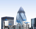 London gherkin an unsual view from the with industrial air conditioning systems and big blue cranes Royalty Free Stock Image