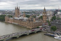 London Houses of Parliament seen from millennium wheel Royalty Free Stock Photo