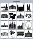 London icons landmarks of set of monochrome editable vector illustration Stock Photo