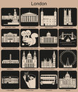 London icons landmarks of set of monochrome editable vector illustration Royalty Free Stock Photography