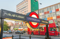 LONDON - JUNE 11, 2015: Public subway sign entrance. London Tube Royalty Free Stock Photo