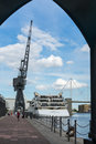 London june sunborn hotel royal victoria dock and an old dockside crane in on unidentified people Stock Images