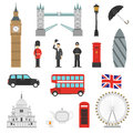 London Landmarks Flat Icons Set
