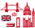 London landmarks graphics english flag and landmark in red and white Stock Photography