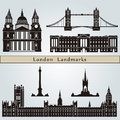 London landmarks and monuments on blue background in editable vector file Royalty Free Stock Photos