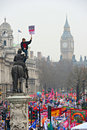 LONDON - MARCH 26: Protesters march down Whitehall against public expenditure cuts in a rally -- March for the Alternative -- orga Stock Photos