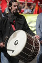 London may day drummer on the demonstration that took place on the st of international workers in uk Stock Photos