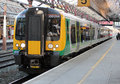 London midland train at crewe station england class electric multiple unit waits platform in with a passenger to birmingham Royalty Free Stock Images