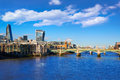London Millennium bridge skyline Royalty Free Stock Photo
