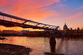 London Millennium bridge skyline UK Royalty Free Stock Photo