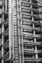 LONDON, Modern English architecture, Lloyds bank building texture. City of London Royalty Free Stock Photo