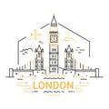 London - modern vector line travel illustration
