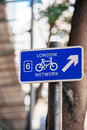 London network sign bicycle in england Royalty Free Stock Photography