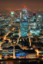 London night aerial view panorama at with urban architectures Royalty Free Stock Image