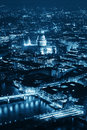 London night aerial view panorama at with urban architectures Royalty Free Stock Photos