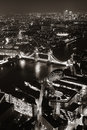 London night aerial view panorama at with urban architectures and tower bridge in bw Stock Photos